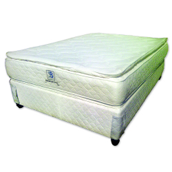 Double-sided pillow-top Double tempered bonnell innerspring unit. With a pillow-top above and below the innerspring unit. Consisting of high density foam. The colour of the bed varies from time to time and might not be the same as the bed illustrated in the photo. 1 year guarantee / 20 year service warranty 120kg per person weight recommendation Mattress thickness: 30cm Base height (including legs): 36cm Total height (including legs): 66cm PRODUCT PRICING Single 91cm Mattress only  :  R 2 240.00 Single 91cm Base and Mattress :  R 2 940.00 ¾ 107cm Mattress only :  R 2 420.00 ¾ 107cm Base and Mattress :  R 3 200.00                                Double 137cm Mattress only :  R 2 840.00                                Double 137cm Base and Mattress :  R 3 690.00 Queen 152cm Mattress only :  R 3 060.00 Queen 152cm Base and Mattress :  R 3 930.00 King 182cm Mattress only :  R 3 740.00 King 182cm Base and Mattress :  R 5 290.00