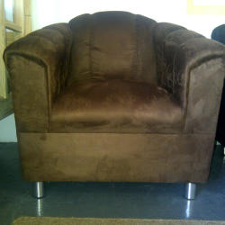 Florence brown suede chair, with silver 8cm legs