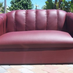 Florence double seater in maroon leatherette
