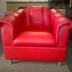 Florence single seater in red leatherette with 80mm silver legs