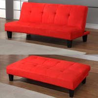 Description: (LF-254) Junior Fibre Sofa Bed Colour: Red, Black or Blue