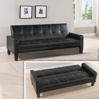 BOSTON-–-Black-PU-LEATHER-Length: 1 960mm When flat, width is: 1 100mm Colour: Black PU leather touch (not real leather) Sleeper-Couch---Beds-and-More-Parow